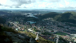 Norway City of Bergen 091 arriving cable car and fantastic view into valley with Footage