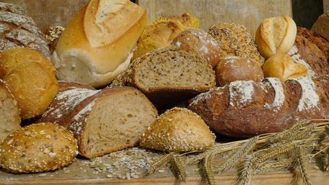 dolly along large german bakery bread roll bun assortment 11733 Footage