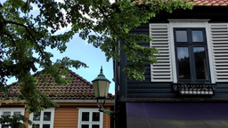 Norway City of Bergen 101 colorful old houses with wooden window shutters Footage