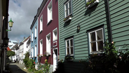 Norway City of Bergen 110 small alley with typical Scandinavian houses Footage