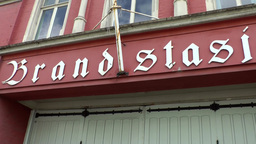 Norway City Of Bergen 113 Panning Movement Over Letters On Old Fire Station stock footage