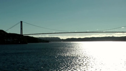 Norway City of Bergen 127 suspension bridge over Byfjord and bright shining wate Footage