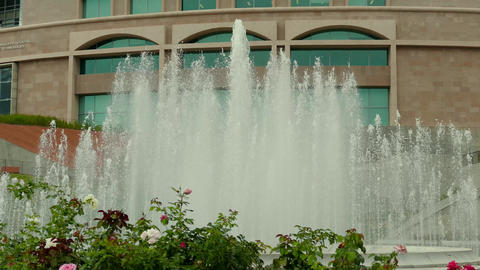 Large Fountain In Front Of A Hotel stock footage