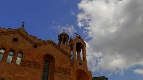 Middle Eastern Church Building with Clouds Footage