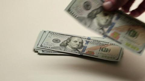 Hand count dollar bills Footage