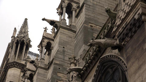 Gargoyles watch over Paris, France from Notre Dame cathedral. 4K Footage