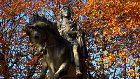 Monument to king Louis XIII in the Place des Vosges Square in Paris. France. 4K Footage