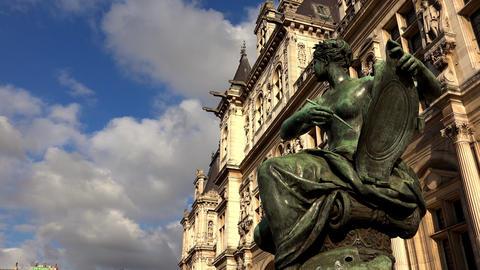 Hotel de Ville, the city hall of Paris. France. 4K Footage