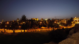 4K Sunset And Moon Setting With Bright Stars Over Jerusalem stock footage