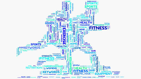 Wellness fitness exercise dieting nutrition word cloud typography animation Animation