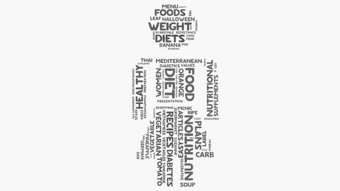 Woman diet food nutrition and health wordcloud text typography Animation