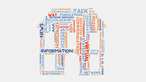 Home communication language speech concept word cloud typography animation Animation