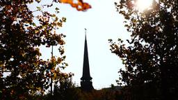 Orthodox church, sunny autumn,lens flare, sound Footage