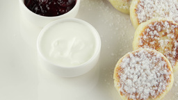 cheese pancakes with sour cream and jam Footage