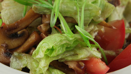 warm salad with veal and roasted mushrooms, closeup Footage