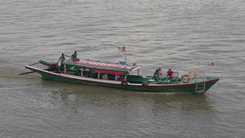 Boat with tourists, myanmar Footage