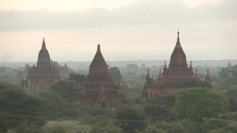 Pagodas in the mist, myanmar Footage