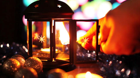 Christmas New Year Lamp with candle Background_3 Footage