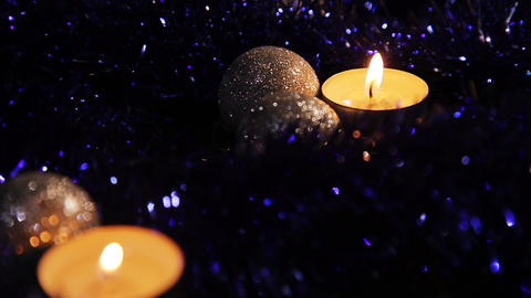Christmas New Year two candle dark Background_2 Footage