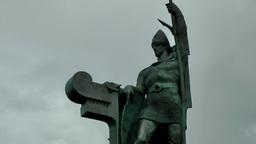 Iceland Reykjavik 079 bronze statue of the founder Ingólfur Arnarson Footage