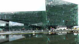 Iceland Reykjavik 082 modern opera building with mirror image in water Footage