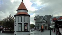 Iceland Reykjavik 074 pavilion on a square after rain Footage