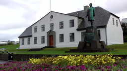 Iceland Reykjavik 077 historic courthouse on hill with lawn Footage