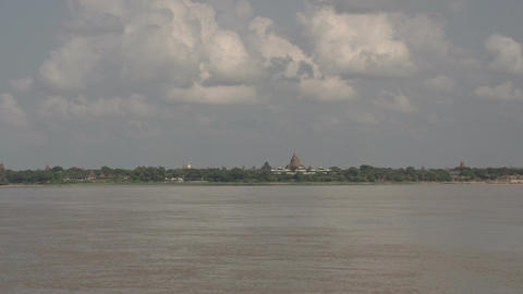 Boating On The Aye Yarwaddy River, View On Temples Skyline stock footage