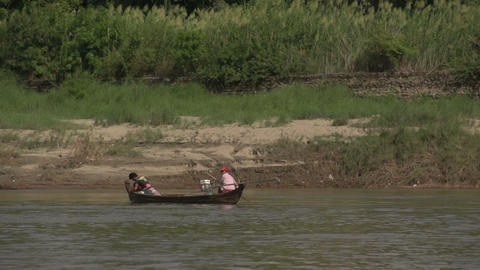 Boating on the Aye Yarwaddy river, fishingboat Footage