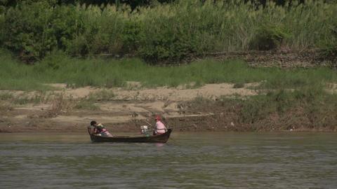 Boating on the Aye Yarwaddy river, fishingboat Footage
