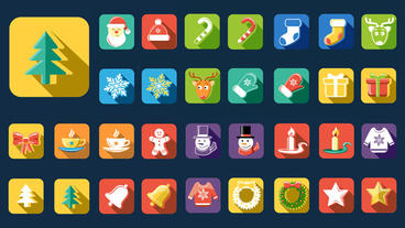 Flat Style Animated Christmas And New Year Icons After Effects Template