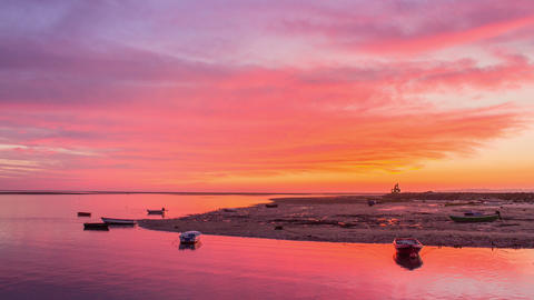 4 K Sunset to Night Olhao Waterfront Seascape Pan Timelapse Footage