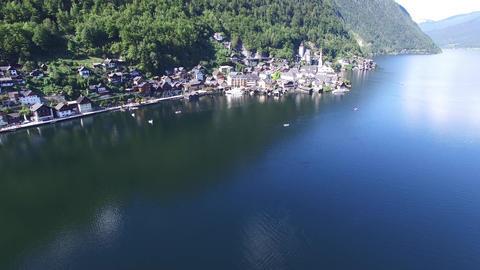 DJI 0006 4Famous Hallstatt mountain village and alpine lake, Austrian Alps, blue Footage