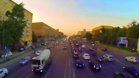 Evening traffic jam of cars in the city Footage