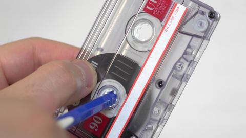 Audio cassette manually rewind Footage