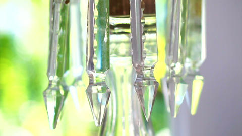Luxury crystals, classic chandelier close up with green background Footage