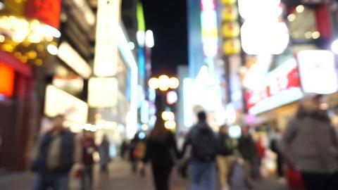 Osaka, Japan- March 2015 -Dotonbori Area Shopping Street And Landmark At Night B stock footage