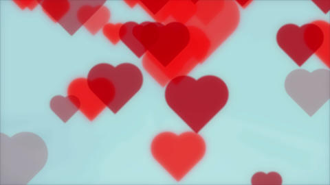 Red Hearts On Blue Background 4K Animation