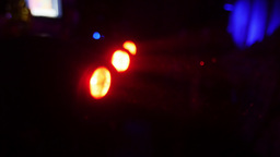 Red turning searchlights in nightclub. Spotlight Footage