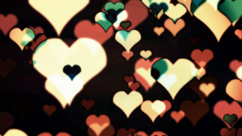 Hearts Multcolored Flying Animation