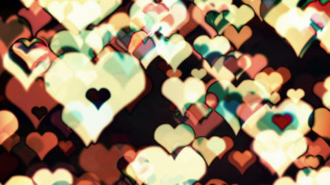 Many Hearts Multcolored Flying Superimposed Animation