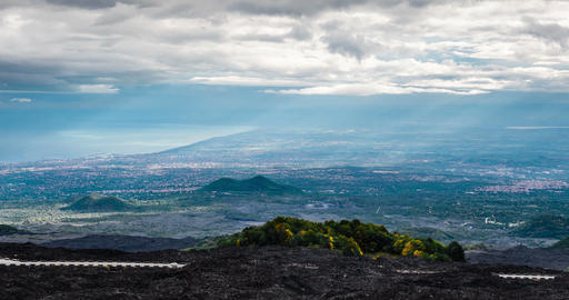 4K, Epic Timelapse from Etna to east coast, Sicily Footage