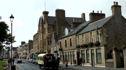 Scotland Orkney Islands Kirkwall 005 horse and cart in downtown main street Footage