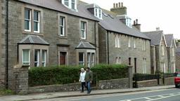 Scotland Orkney Islands Kirkwall 021 grey British residential houses Footage