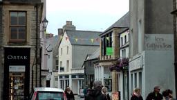 Scotland Orkney Islands Kirkwall 027 tourists in downtown pedestrian zone Footage