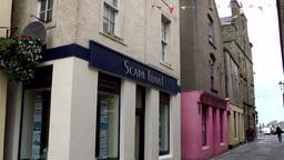 Scotland Orkney Islands Kirkwall 030 shop windows in harbor street Footage