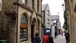 Scotland Orkney Islands Kirkwall 036 shops in old buildings of pedestrian zone Footage