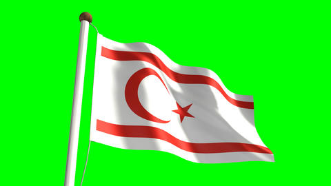 Cyprus Turkish Republic flag Animation