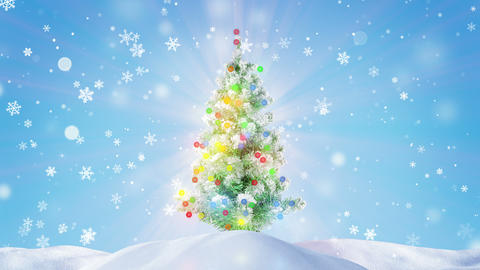decorated glowing christmas tree outdoor loopable 4k…, Stock Animation