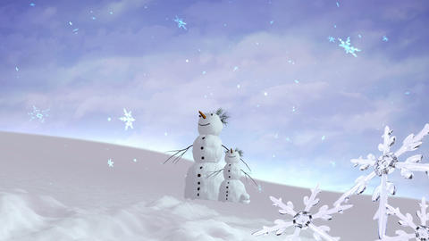 snowmen and kid Christmas Snowflakes Animation